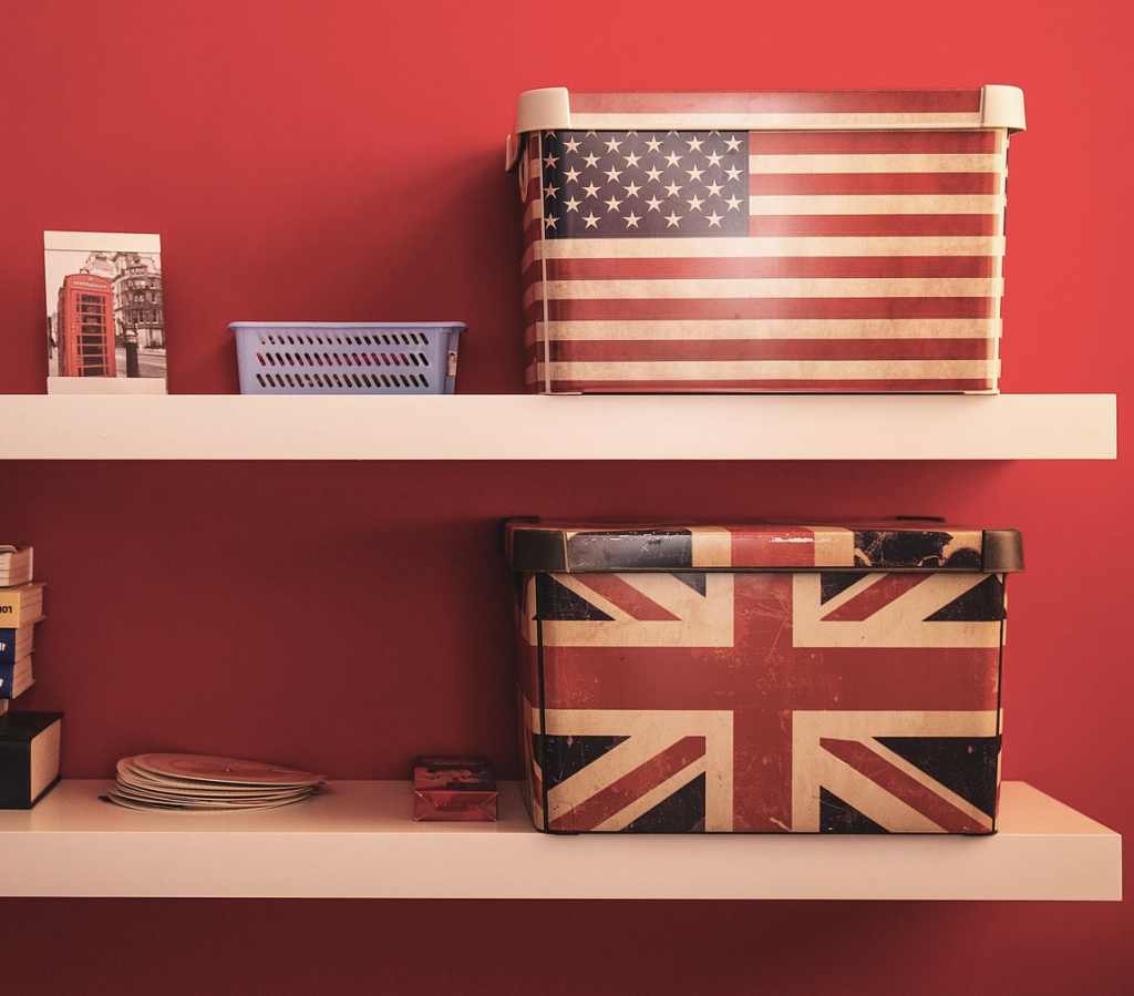 American and British English with flags - Adrian Colin Doyle